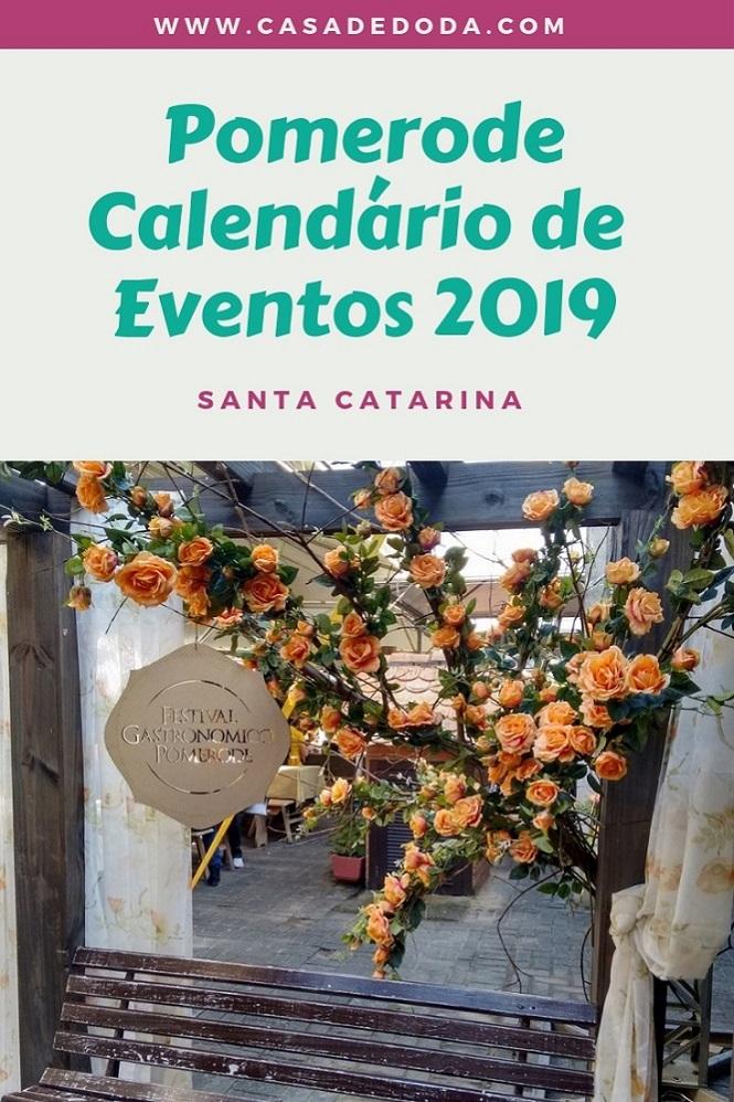 Pomerode, Calendário de Eventos 2019