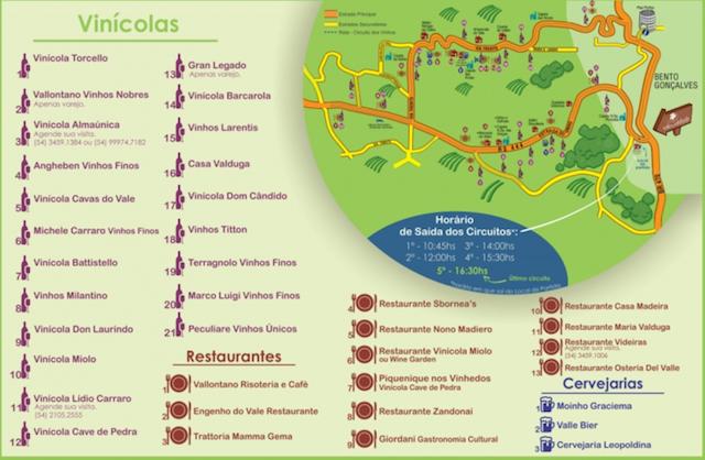 Mapa de localização das vinícolas